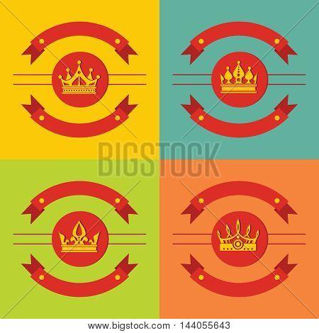 Logo crown icons on color background. Royal element for king, vector illustration