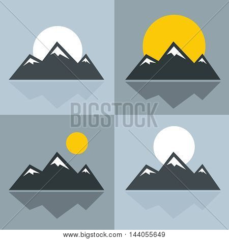 Mountain icons with sun and reflection. Mountain with snowy peak. Vector illustration