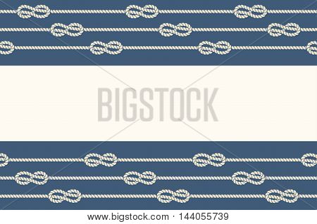 Marine ropes and knots borders frame. Design graphic element, loop string, vector illustration