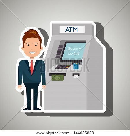man atm money credit vector illustration eps 10