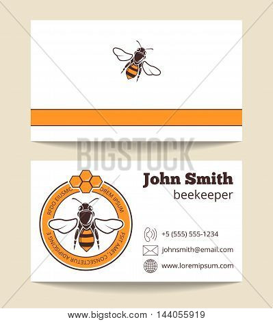 Beekeeper vector business card template. Dessert nutrition farming logo illustration