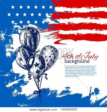 4th of July background with American flag. Independence Day vintage hand drawn design