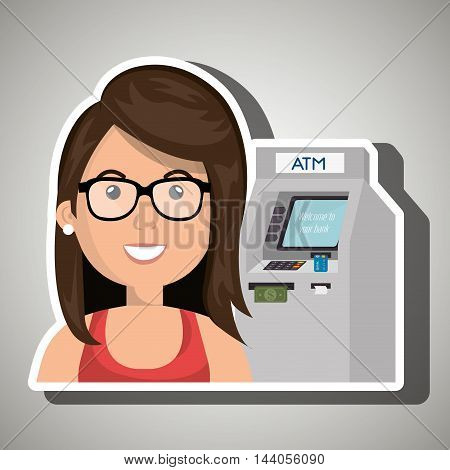 woman atm money credit vector illustration eps 10