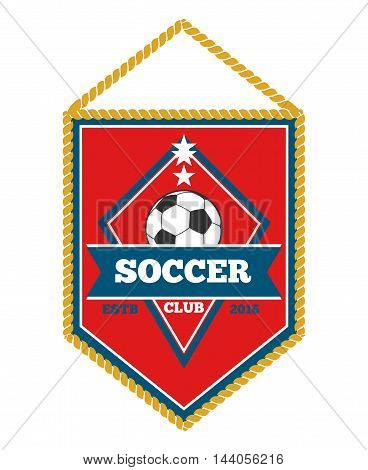 Red soccer pennant isolated white. Football flag and sport banner, vector illustation