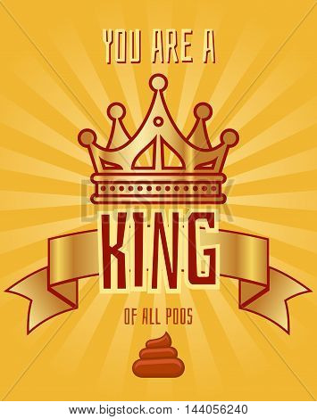 Greeting card template for a bad person. Template of card with crown. Vector illustration