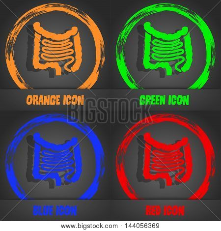 Intestines Icon. Fashionable Modern Style. In The Orange, Green, Blue, Red Design. Vector