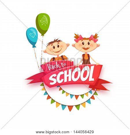 Back to school cartoon poster. Vector illustration.