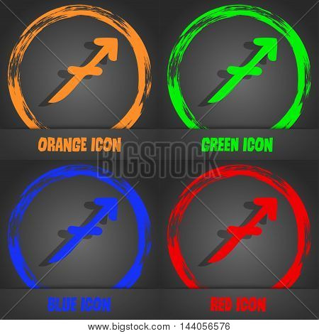 Sagittarius Icon. Fashionable Modern Style. In The Orange, Green, Blue, Red Design. Vector