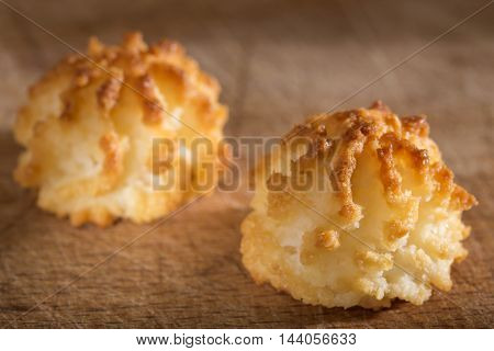 Coconut macaroons christmas cookies on wooden background