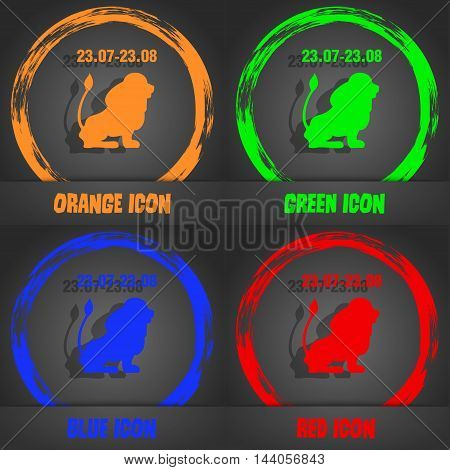 Leo Zodiac Icon. Fashionable Modern Style. In The Orange, Green, Blue, Red Design. Vector