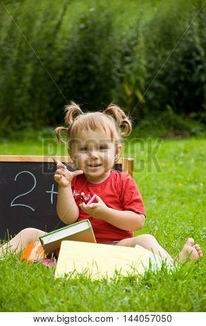 school supplies. child plays. early childhood development