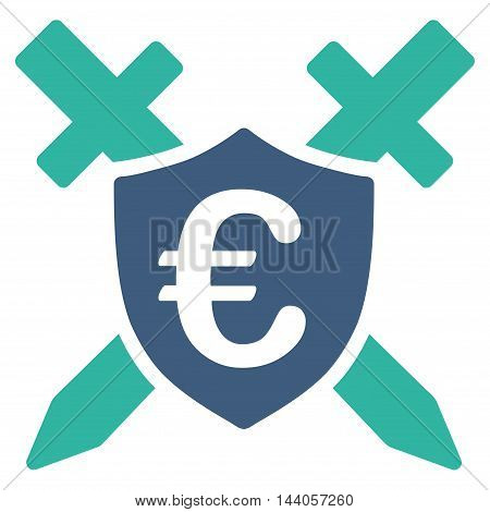Euro Guard Shield icon. Vector style is bicolor flat iconic symbol with rounded angles, cobalt and cyan colors, white background.