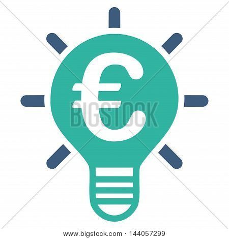 Euro Innovation icon. Vector style is bicolor flat iconic symbol with rounded angles, cobalt and cyan colors, white background.