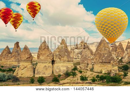 Stone Formations Fairy Chimneys In Cappadocia, Turkey.