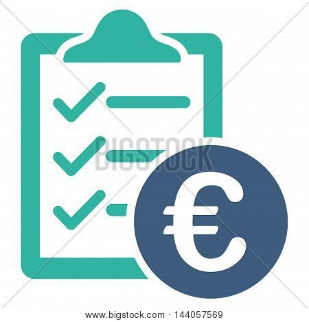 Euro Purchase Pad icon. Vector style is bicolor flat iconic symbol with rounded angles, cobalt and cyan colors, white background.