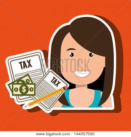 woman taxes bills pencil vector illustration eps 10