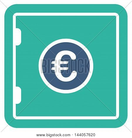 Euro Safe icon. Vector style is bicolor flat iconic symbol with rounded angles, cobalt and cyan colors, white background.