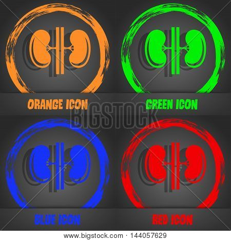 Kidneys Icon. Fashionable Modern Style. In The Orange, Green, Blue, Red Design. Vector