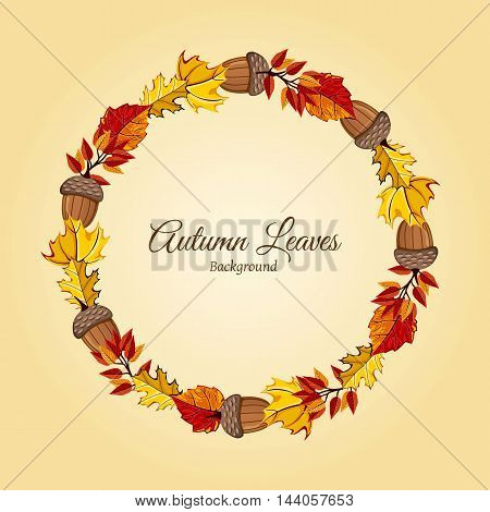 Wreath of autumn leaves vector illustration. Autumnal round frame. Background with hand drawn autumn leaves. Design elements. Autumn leaves concept. Different autumn leaves.