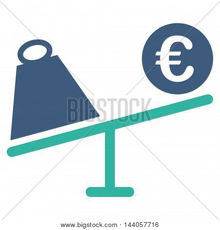 Euro Trade Swing icon. Vector style is bicolor flat iconic symbol with rounded angles, cobalt and cyan colors, white background.