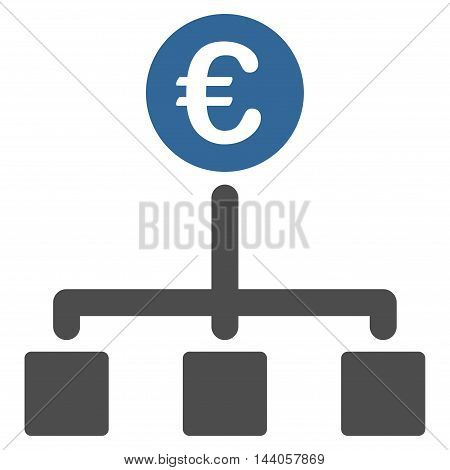 Euro Cash Flow icon. Vector style is bicolor flat iconic symbol with rounded angles, cobalt and gray colors, white background.