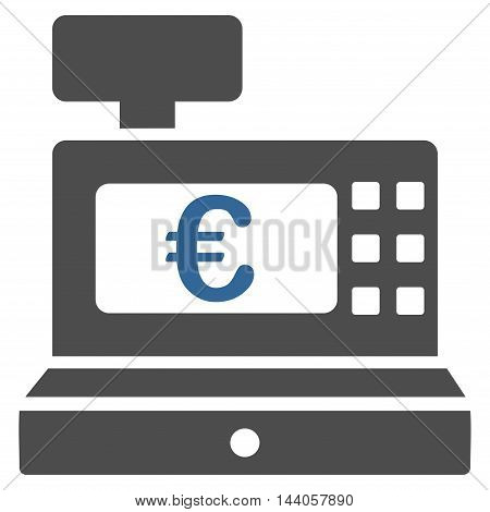 Euro Cashbox icon. Vector style is bicolor flat iconic symbol with rounded angles, cobalt and gray colors, white background.