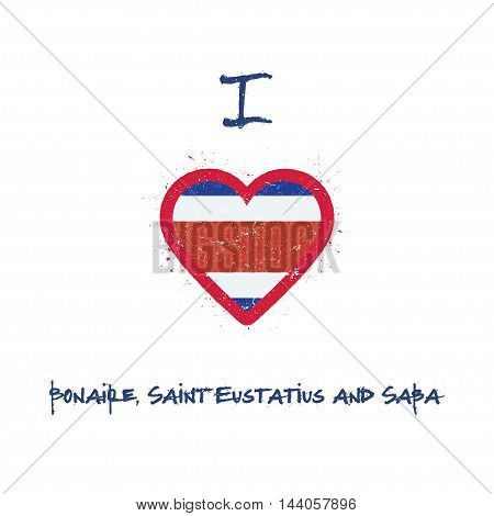 I Love Bonaire, Sint Eustatius And Saba T-shirt Design. Dutch Flag In The Shape Of Heart On White Ba