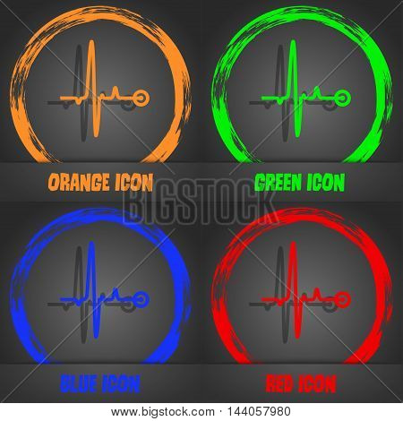 Heartbeat Icon. Fashionable Modern Style. In The Orange, Green, Blue, Red Design. Vector