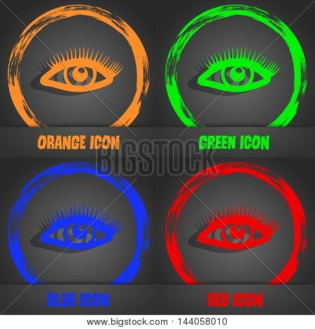 Eyelashes Icon. Fashionable Modern Style. In The Orange, Green, Blue, Red Design. Vector