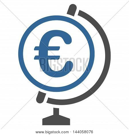 Euro Globe icon. Vector style is bicolor flat iconic symbol with rounded angles, cobalt and gray colors, white background.