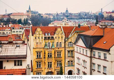 Colorful Ancient buildings in Prague Czech Republic