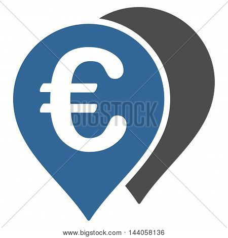 Euro Map Markers icon. Vector style is bicolor flat iconic symbol with rounded angles, cobalt and gray colors, white background.