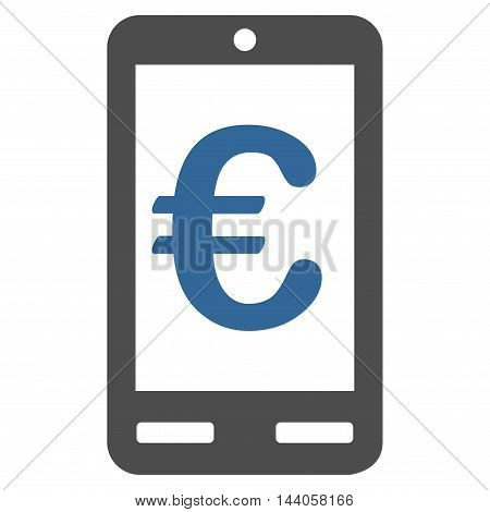 Euro Mobile Bank icon. Vector style is bicolor flat iconic symbol with rounded angles, cobalt and gray colors, white background.