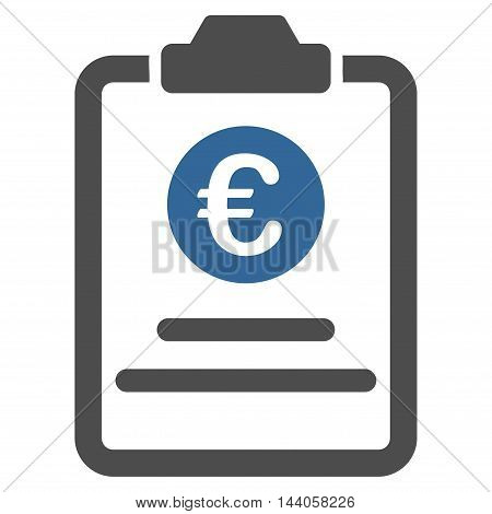 Euro Prices Pad icon. Vector style is bicolor flat iconic symbol with rounded angles, cobalt and gray colors, white background.