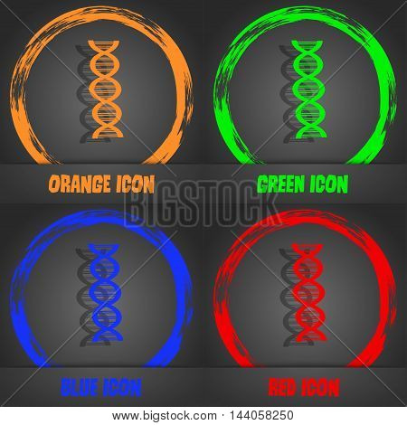 Dna Icon. Fashionable Modern Style. In The Orange, Green, Blue, Red Design. Vector