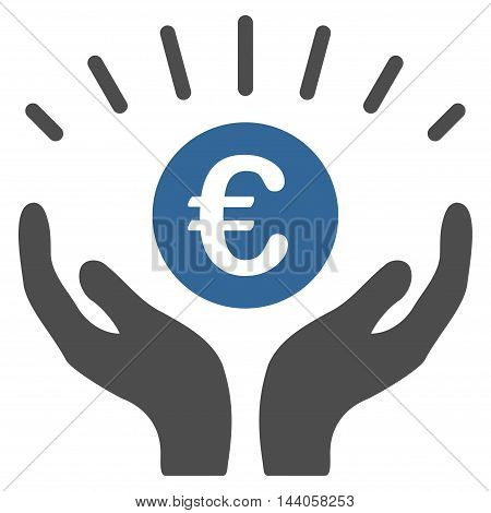 Euro Prosperity icon. Vector style is bicolor flat iconic symbol with rounded angles, cobalt and gray colors, white background.