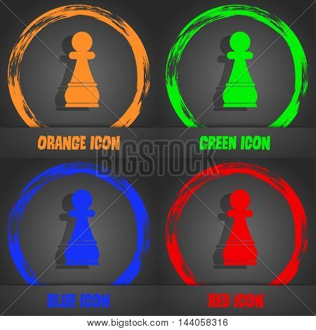 Chess Pawn Icon. Fashionable Modern Style. In The Orange, Green, Blue, Red Design. Vector