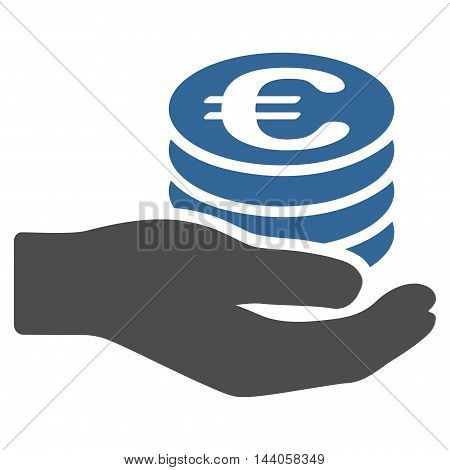 Euro Salary icon. Vector style is bicolor flat iconic symbol with rounded angles, cobalt and gray colors, white background.