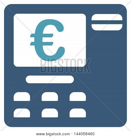 Euro Atm icon. Vector style is bicolor flat iconic symbol with rounded angles, cyan and blue colors, white background.