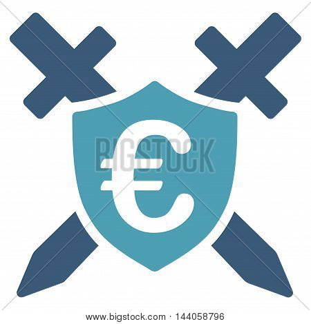 Euro Guard Shield icon. Vector style is bicolor flat iconic symbol with rounded angles, cyan and blue colors, white background.