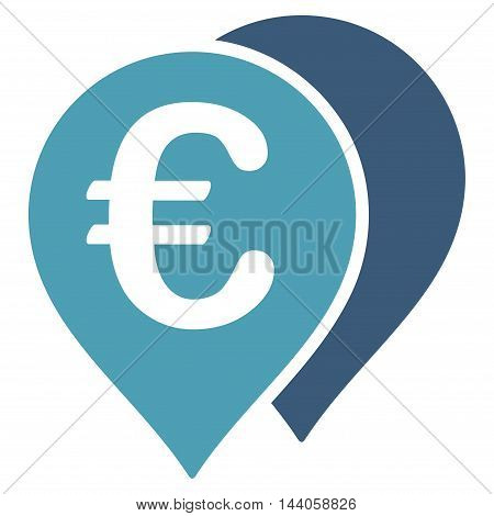 Euro Map Markers icon. Vector style is bicolor flat iconic symbol with rounded angles, cyan and blue colors, white background.