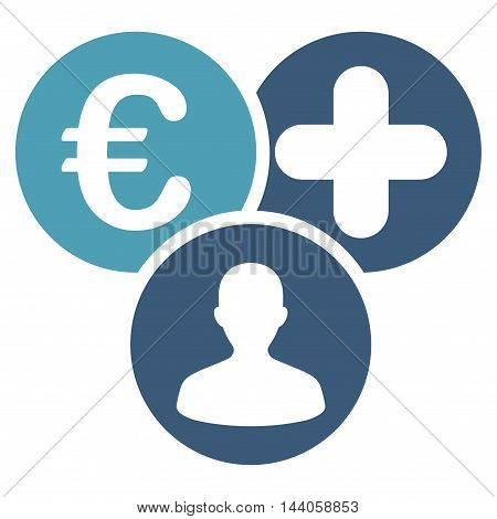 Euro Medical Expences icon. Vector style is bicolor flat iconic symbol with rounded angles, cyan and blue colors, white background.