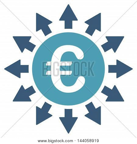 Euro Payments icon. Vector style is bicolor flat iconic symbol with rounded angles, cyan and blue colors, white background.