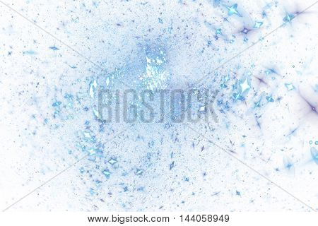 Bright splash. Abstract colorful blue drops on white background. Fantasy fractal texture for posters postcards or t-shirts.