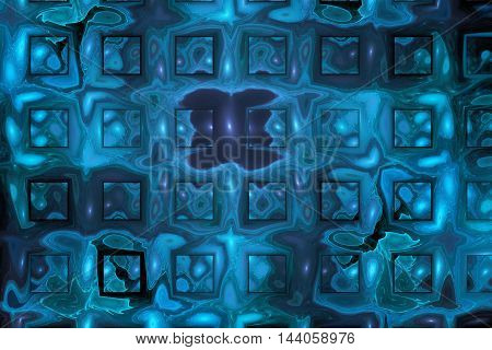 Rusty metal. Abstract geometric grunge background. Fantasy fractal texture in blue black and grey colors.