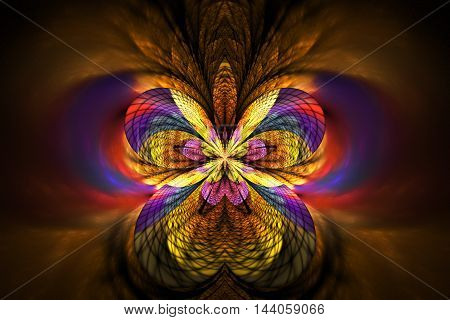 Abstract glowing flower on black background. Symmetrical pattern in orange yellow red and purple colors. Fantasy fractal design for posters wallpapers or t-shirts. Digital art. 3D rendering.