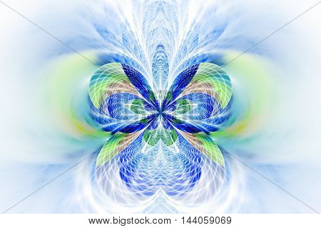 Abstract glowing flower on white background. Symmetrical pattern in blue and light green colors. Fantasy fractal design for posters wallpapers or t-shirts. Digital art. 3D rendering.
