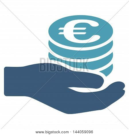 Euro Salary icon. Vector style is bicolor flat iconic symbol with rounded angles, cyan and blue colors, white background.