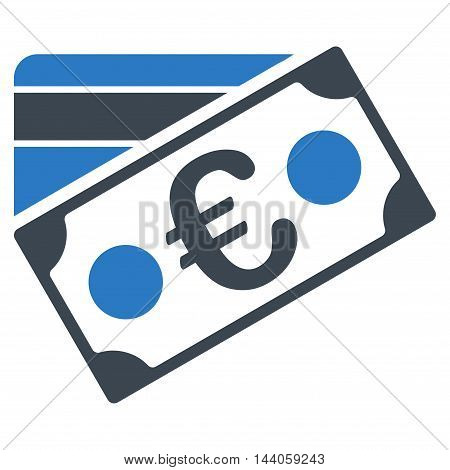 Euro Banknote and Credit Card icon. Vector style is bicolor flat iconic symbol with rounded angles, smooth blue colors, white background.