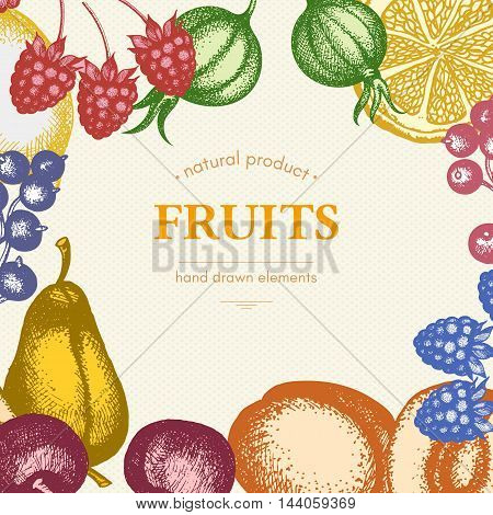 Vintage card design with vector inking fruits and berries sketch. Healthy food retro frame for menu